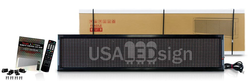 USA LED sign in box with remote and packaging