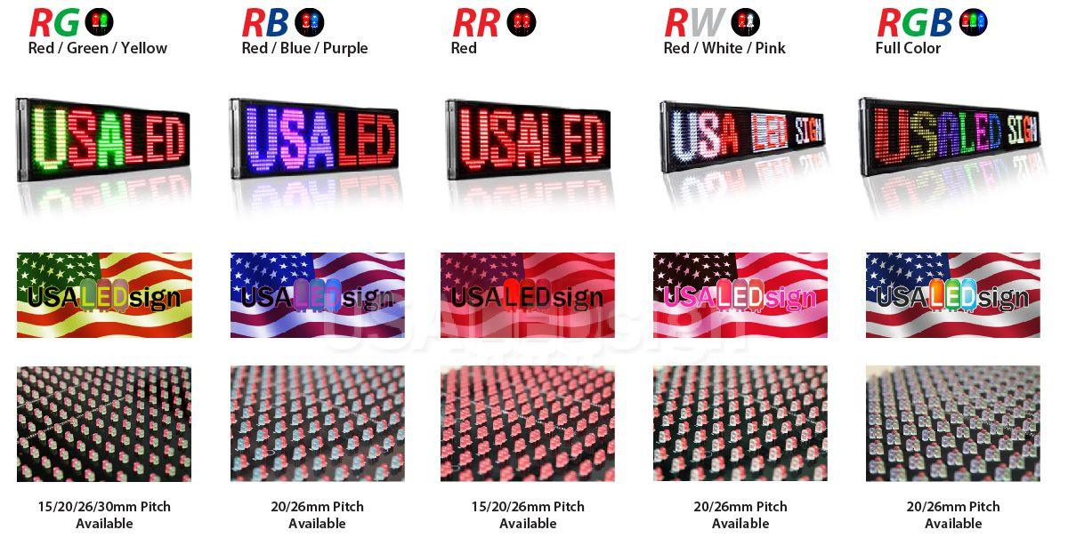 Variations of Colors for LED signs