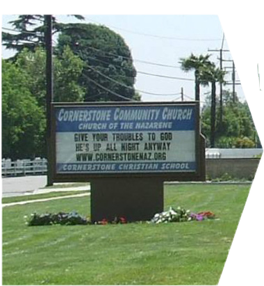 An LED sign at the front of Church