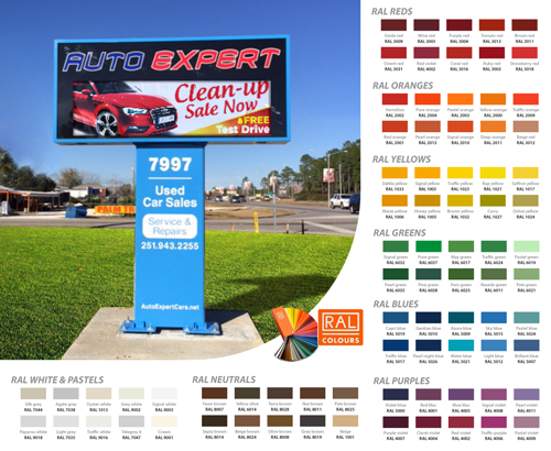 RAL Color Options for LED sign boards